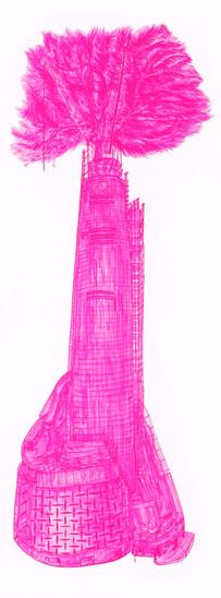 롯데월드타워, 종이 위에 아크릴 물감, 30 x 115cm, 2016