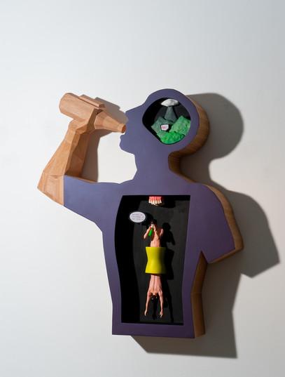 한시적해방, 102x94cm, Veneer, F.R.P, Printout, 2012