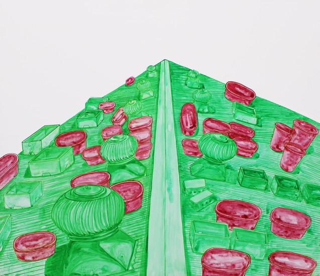 옥상 정원, 캔버스 위에 아크릴 물감, 45x53cm, 2013