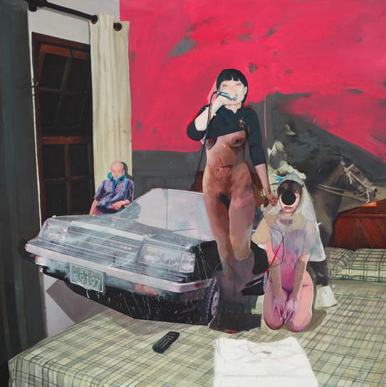 Room. H. 9905, 120 x 120cm, 천 위에 아크릴, 유화, 부분 폴리 실크 스크린, 2015