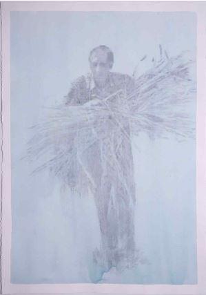 건초더미를 들고있는 사람4, 판화지에 아크릴, 흑연, 109.5x79.5cm, 2018