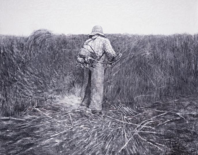the veteran in a new field, 장지에 목탄, 130x165cm, 2018