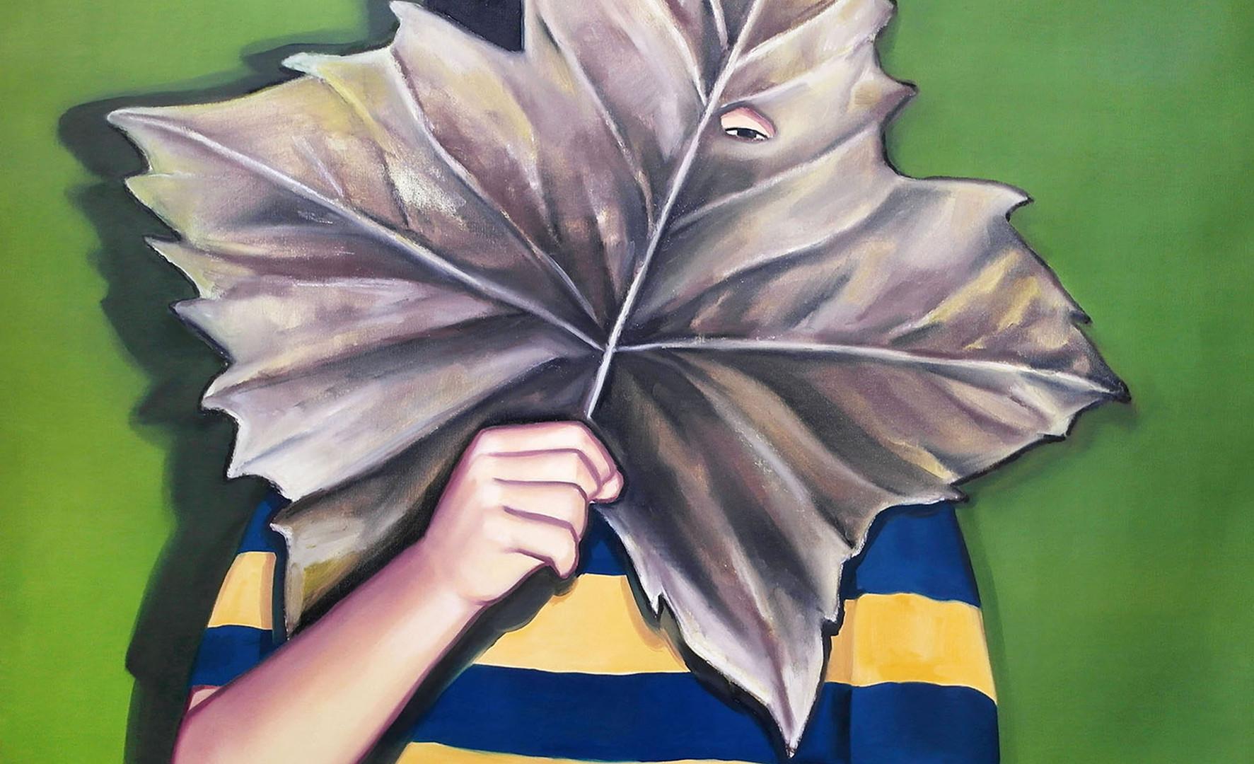 나뭇잎 가면_2(Leaf mask_2), oil&oilpastel on canvas, 91x91cm, 2018
