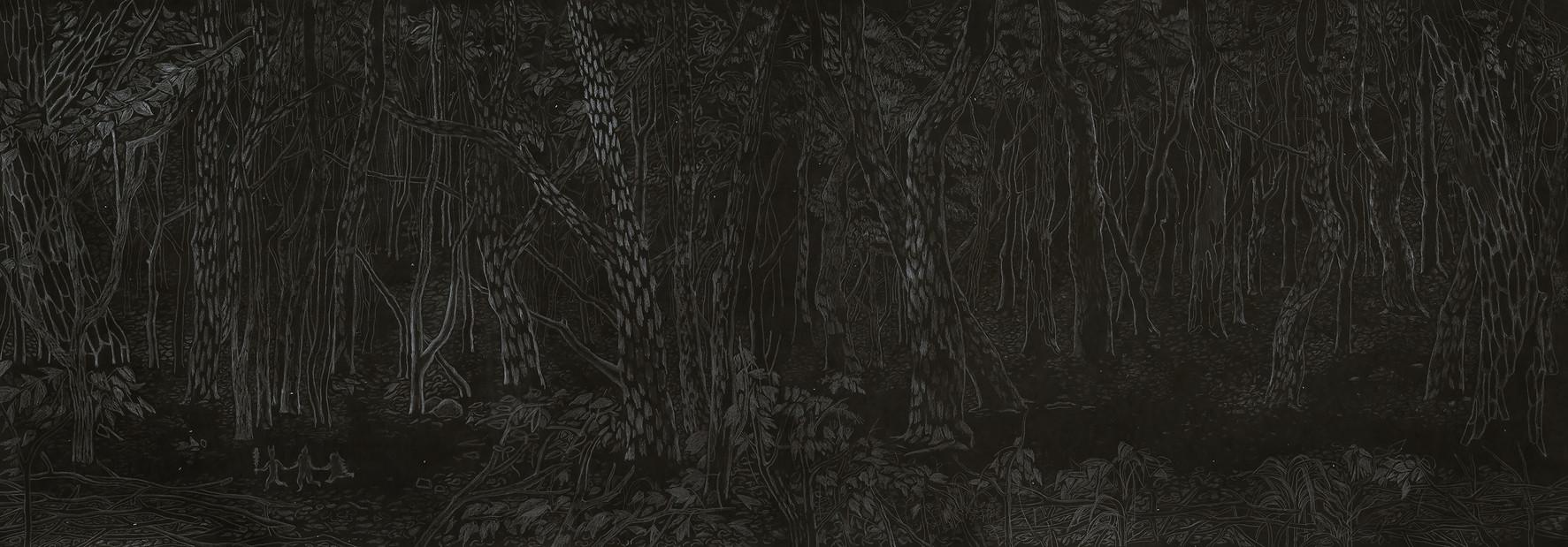 도깨비숲, 장지에 먹과 연필, 130x326cm, 2016