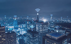 Cityscape with wi-fi connection conceptu