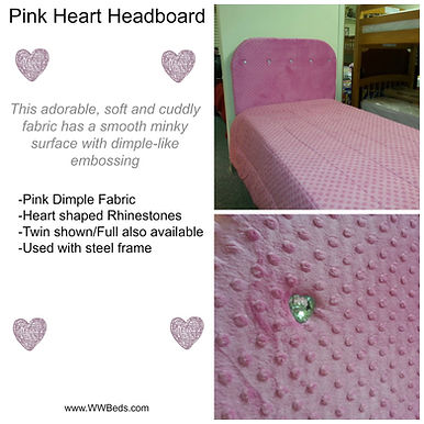 fabric covered headboard with heart jewels.