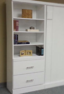 Bookcase example with 2 drawers and a drink tray.