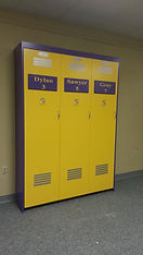 A folding wall bed designed to look like a LSU Locker