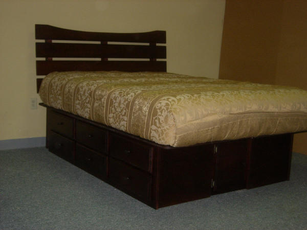 Slatted Headboard with 12 drawers