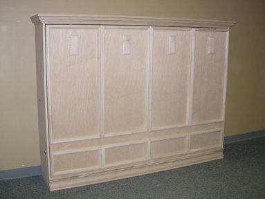 Horizontal murphy wall bed with added molding to the face