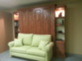 Sofa in front of a Murphy bed
