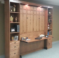 FLW Murphy wall bed shown with the desk open