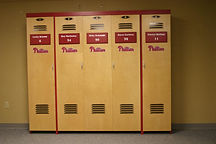 A folding wall bed designed to look like a Phillies Locker