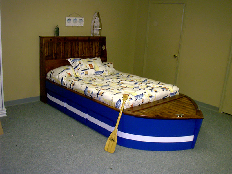 Boat Bed Stained Headboard