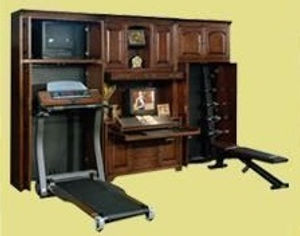 Bookcase that hides both a treadmill and other workout exquipment