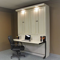 Murphy wall bed shown with the desk and mirror