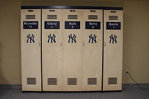 A folding wall bed designed to look like a Yankees Locker from 1927