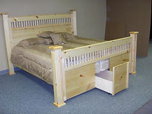Four poster bed built in pine wood