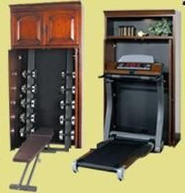 Individual bookcases to hide workout equipment.