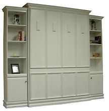 White Murphy bed with molding on face