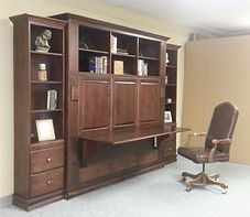 Horizontal murphy bed with desk open