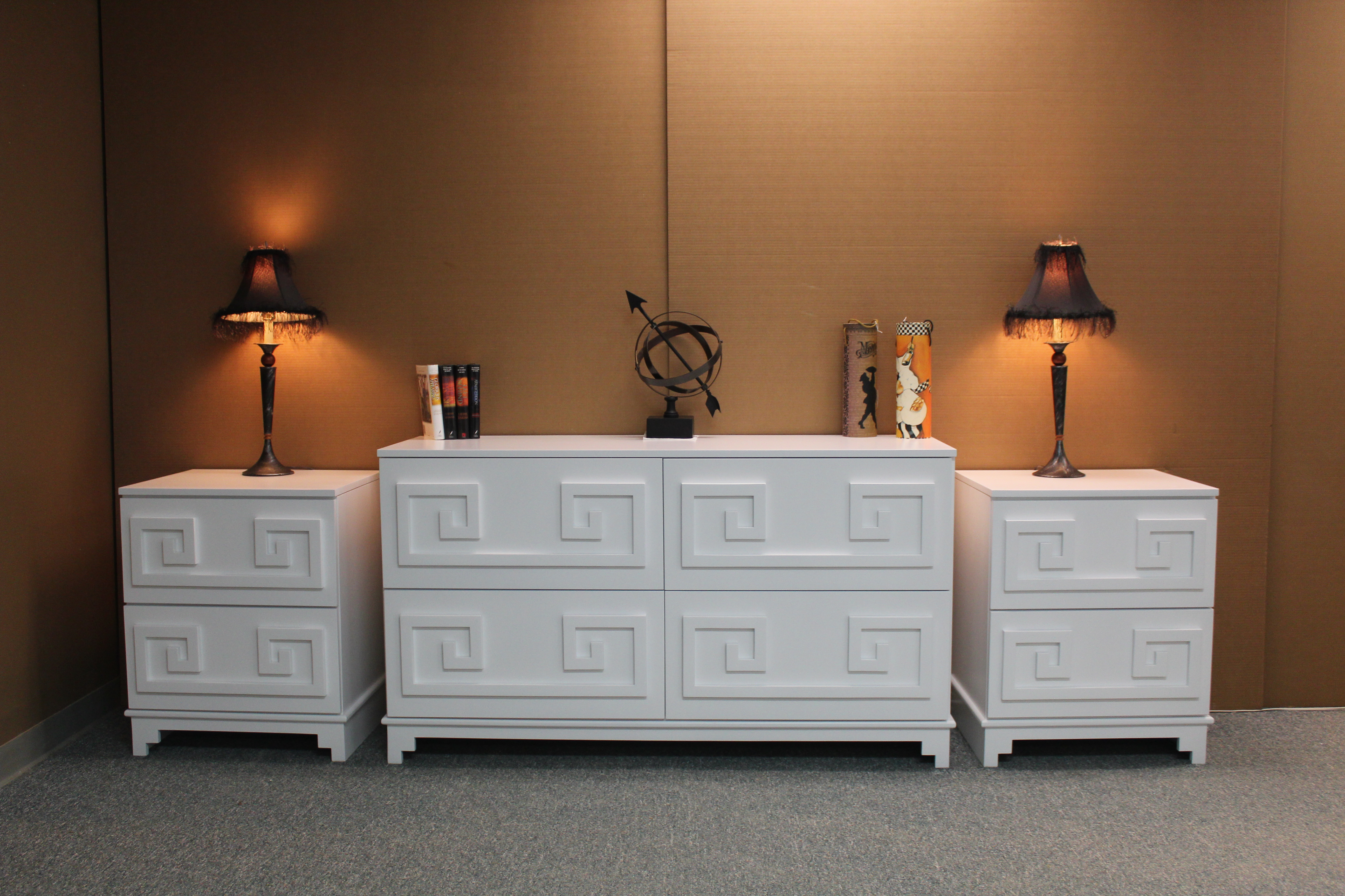 Greek Key Dresser and Nightstand