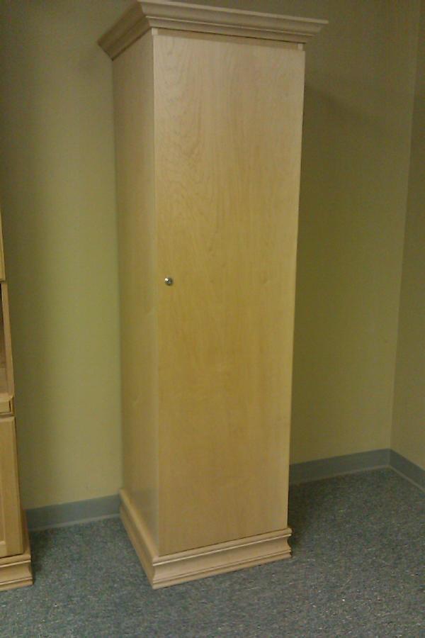 Wine cabinet with door closed.