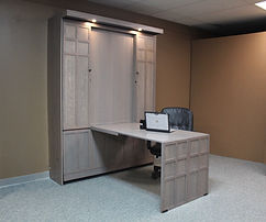 Murphy bed two large doors with a barn door look