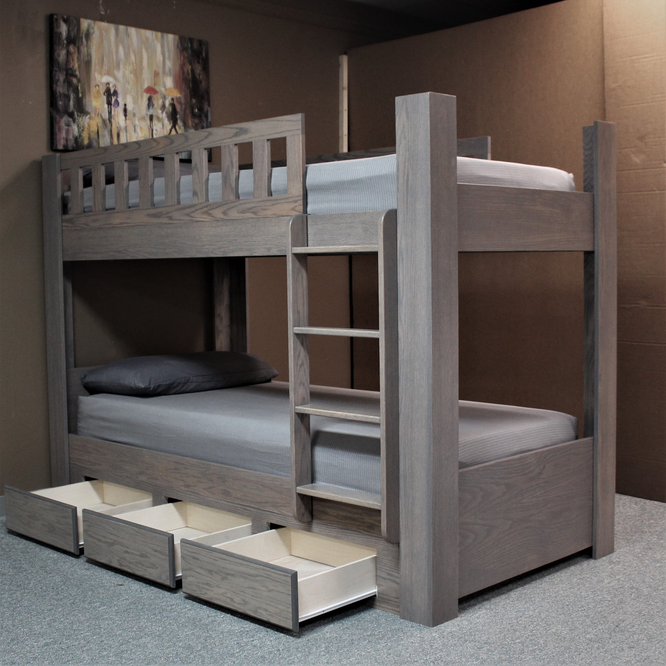 Gray Bunk Drawers Open