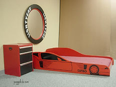 Race car bed with matching tool box nightstand