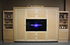 Sideways murphy bed with raised panel front