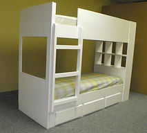 White bunk bed with window cut in the end