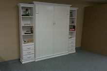 White Contempo murphy bed with bookcases