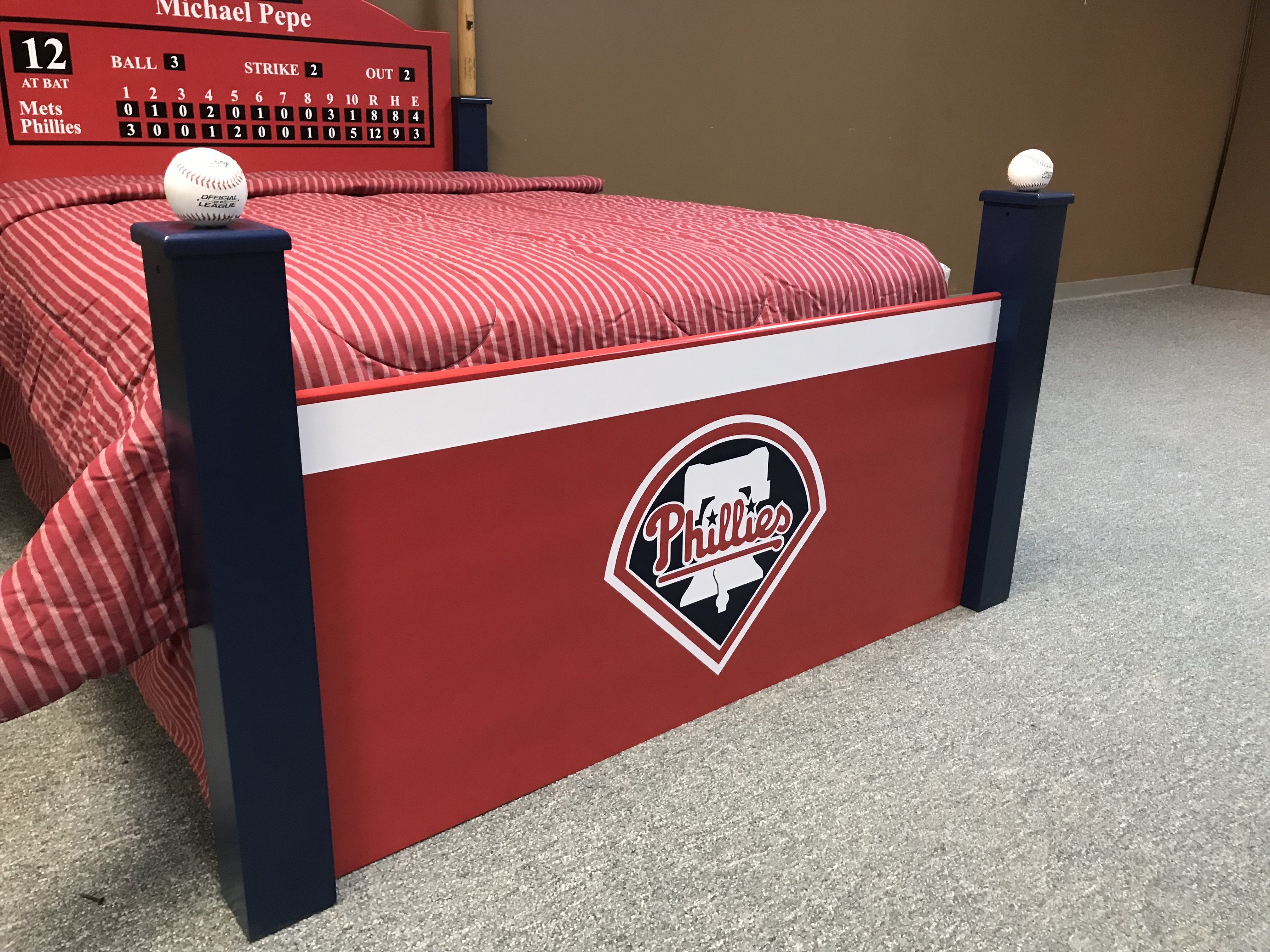 Phillies Baseball Bed Footboard