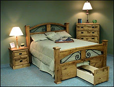 Four post bed with iron and pine wood