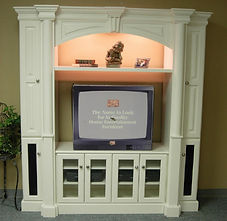 Entertainment center with pillers