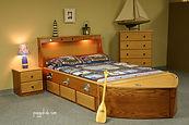Boat theme bed in oak wood
