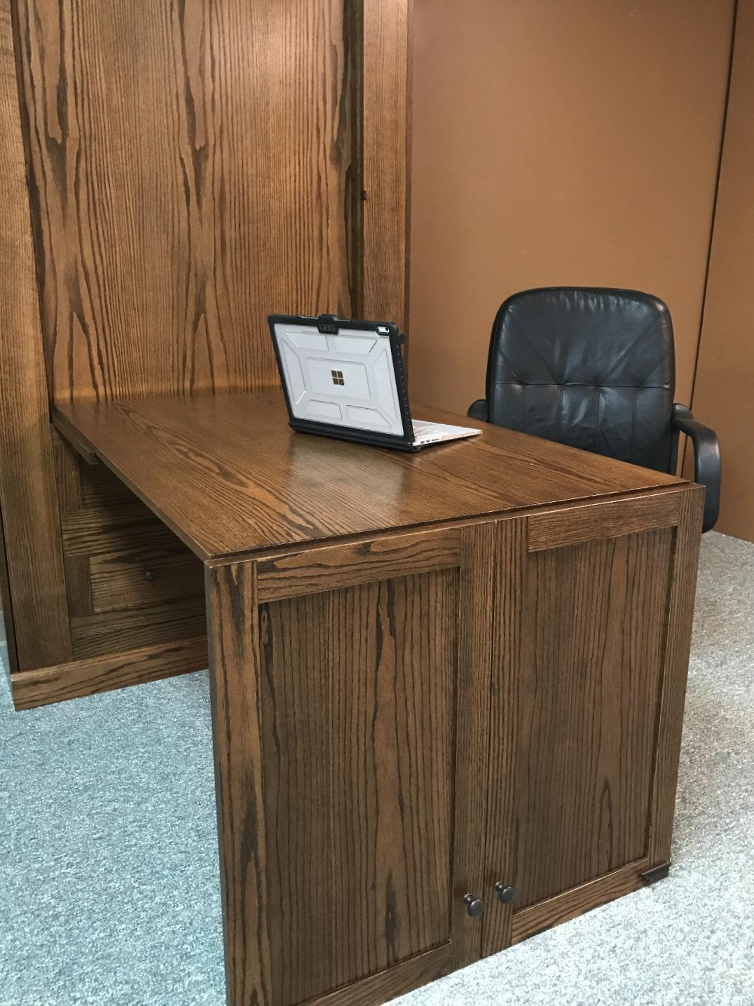Twin Craftsman Murphy Bed Desk