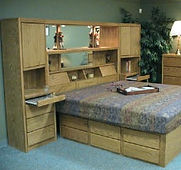 Bed room wall unit with sliding doors