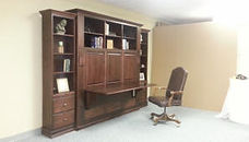 Horizontal Murphy wall bed with added upper cabinets and desk
