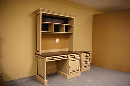 A desk and hutch with a two tone color