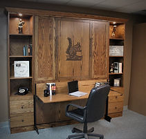 Mission style murphy bed in dark brown color