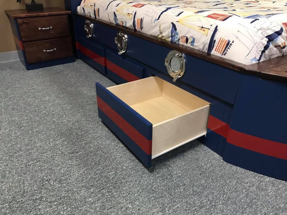 Boat bed drawers