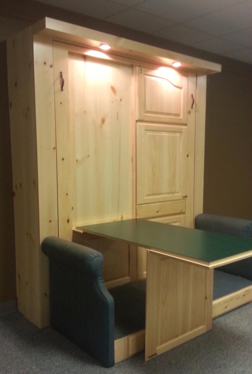 Murphy bed one desk open.