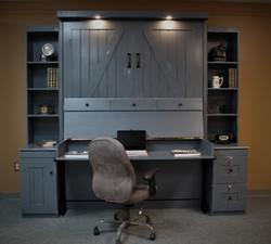 Barn Door Gray Desk Open