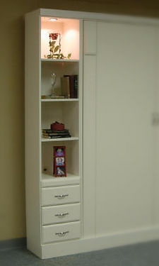 Bookcase example with 3 drawers and drink tray
