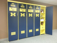 A folding wall bed designed to look like a Michigan Locker