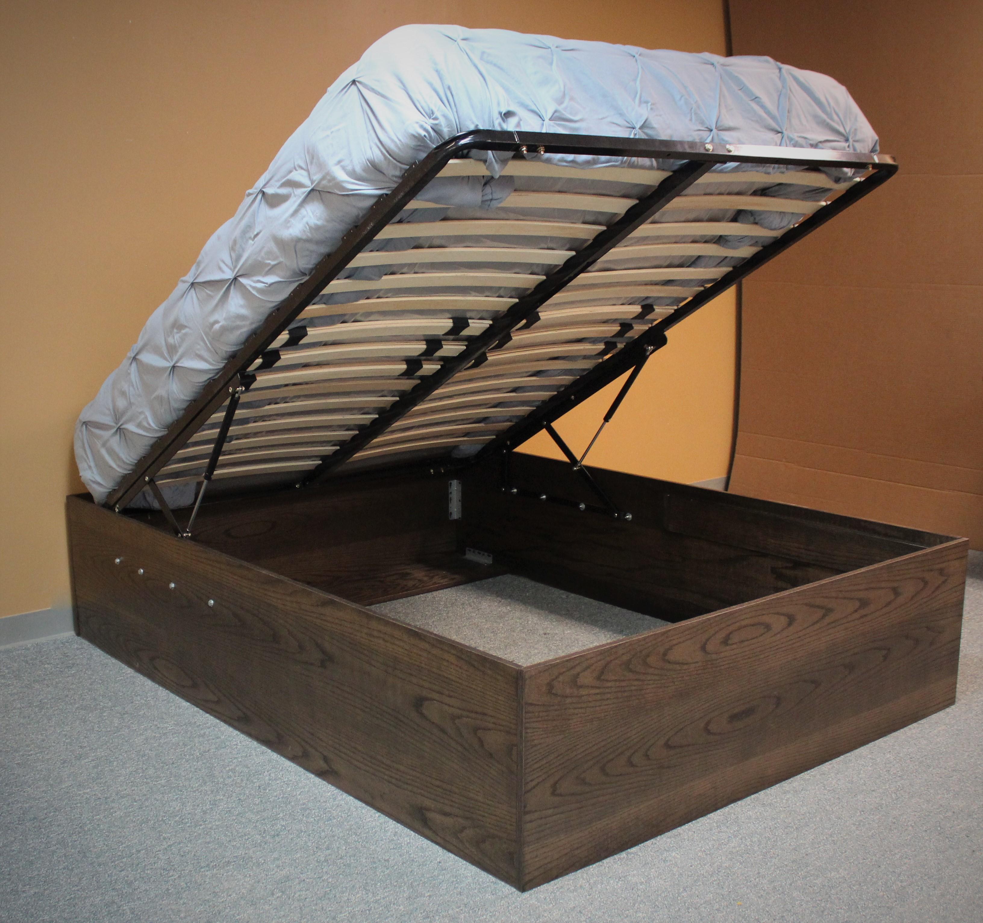 Storage Platform Bed with Mattress Open