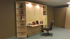 Manhattan Murphy wall bed shown with the desk open
