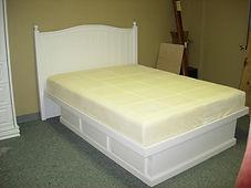 White poster platform bed